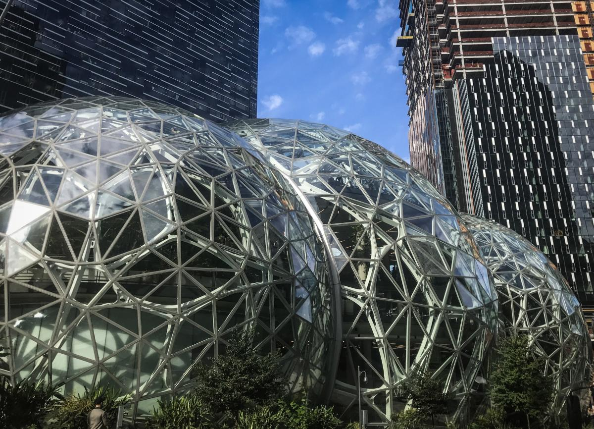 Amazon built The Spheres, which house indoor gardens, as an alternative working space for its employees in downtown Seattle. It's part of the campus of 44 Amazon buildings, with more under construction.
