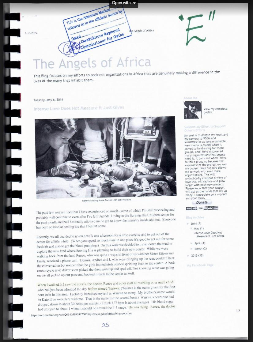 A court filing by Ugandan attorney Primah Kwagala includes excerpts from Renee Bach's blog as well as from a blog posted by a supporter of her charity who had visited and taken photos. This page above includes a photograph of Bach inserting an IV catheter