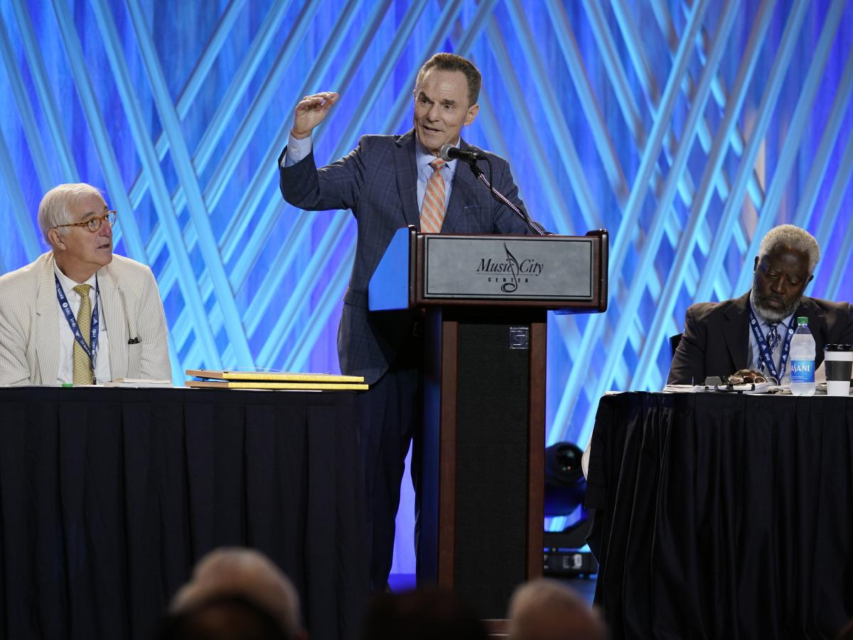 Ronnie Floyd (center), president and CEO of the Southern Baptist Convention's executive committee, speaks Monday at the denomination's annual meeting in Nashville.