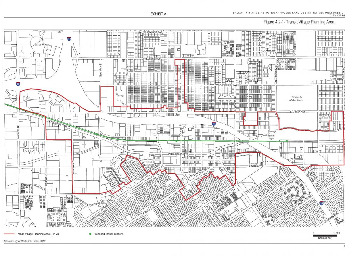 A map of the transit villages throughout Redlands.