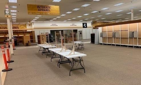 A former department store in Neenah, Wis., has been temporarily converted into a polling place to comply with social distancing guidelines.