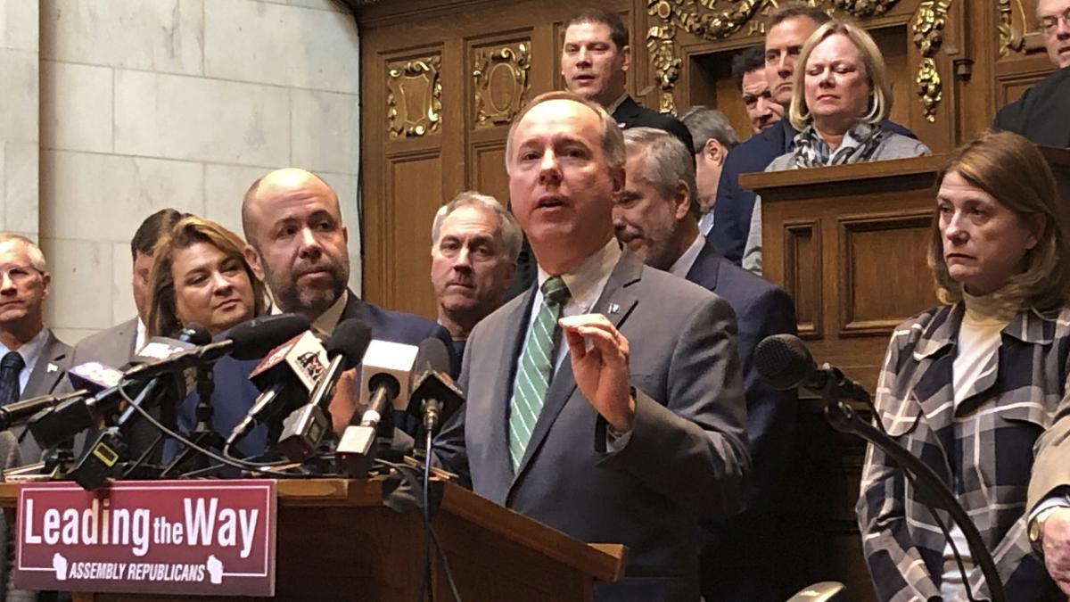 """""""We live in a republic, and we live in one that has to have elections,"""" says state Assembly Speaker Robin Vos (center)."""