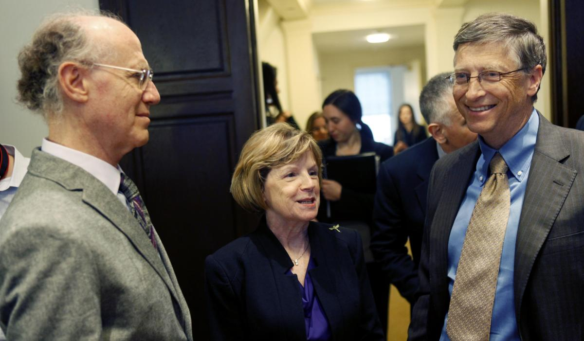 Bill Gates speaks in 2011 in New York with descendants of key figures in the fight against polio — Peter Salk, left, and Cathy Hively, granddaughter of Basil O'Connor, who helped to battle the disease through the March of Dimes.
