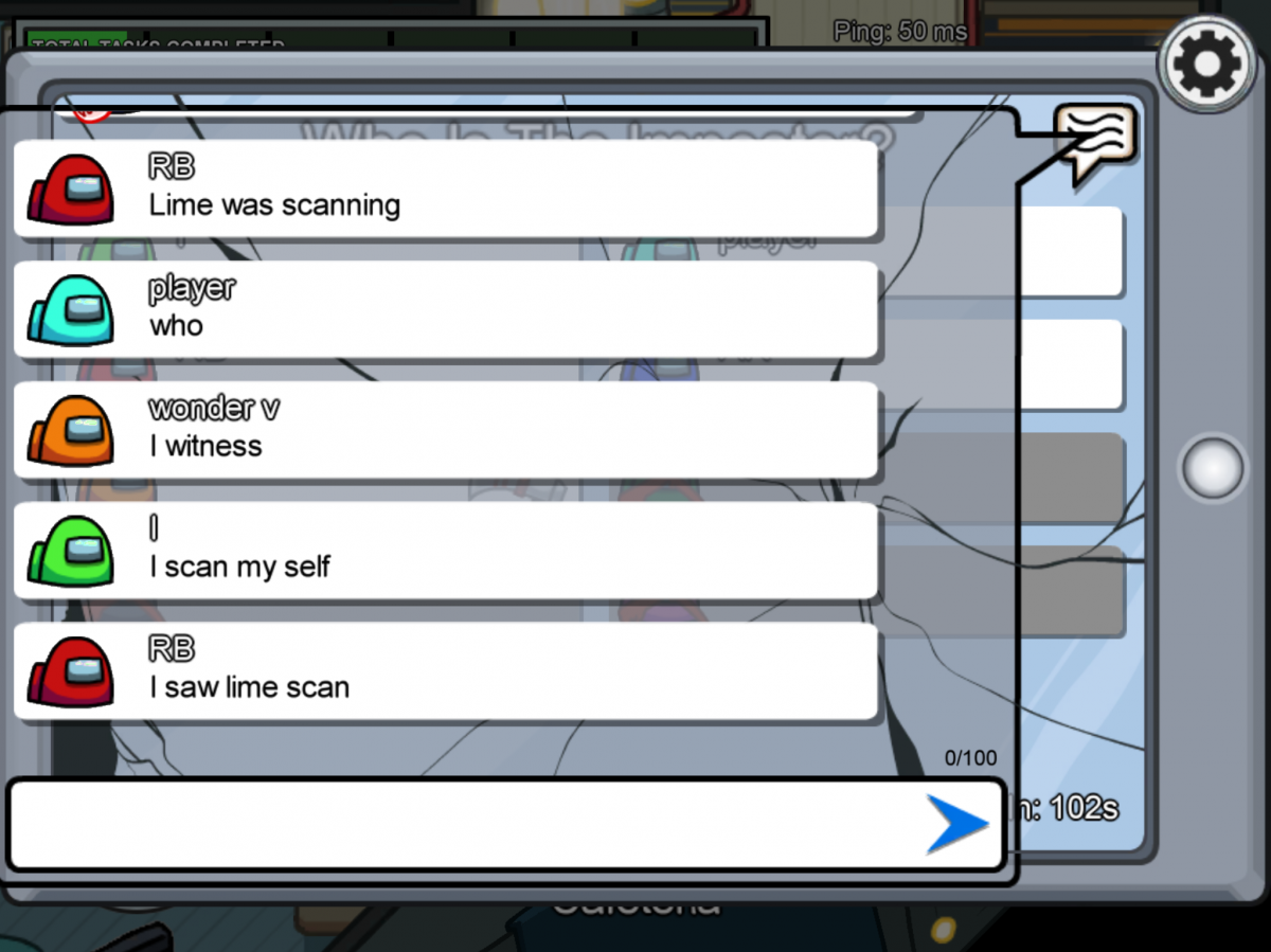 The chat function offers only limited communication in Among Us.