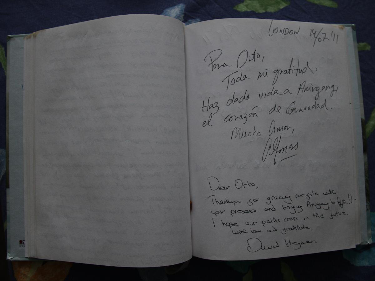 Personal notes written by director Alfonso Cuaron and producer David Heyman in Orto Ignatiussen's notebook during a meeting about his work in the movie Gravity.