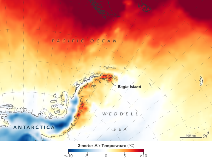 High temperatures are seen on the Antarctic Peninsula, in this map reflecting conditions on Feb. 9. NASA says the map reflects temperatures about 6 1/2 feet above the ground.