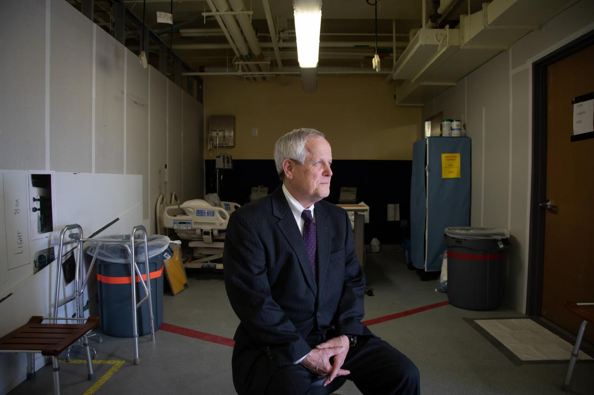 Craig DeAtley directs Emergency Management at MedStar. One goal in creating more room to handle an expected surge of COVID-19 patients, he says, is to move the assessment of some walk-in ER patients to stations in this room — as well as to stations in l