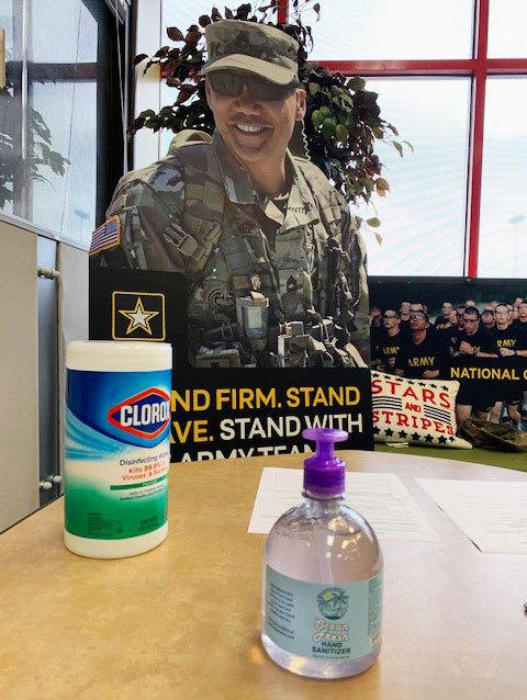 In this age of the coronavirus, wipes and hand sanitizer are front and center at the Inglewood recruiting station.