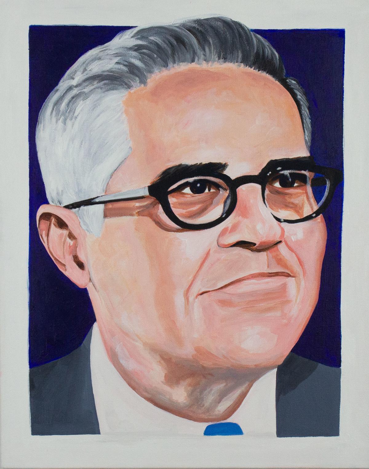 "A portrait of Philadelphia District Attorney Larry Krasner by James ""Yaya"" Hough."