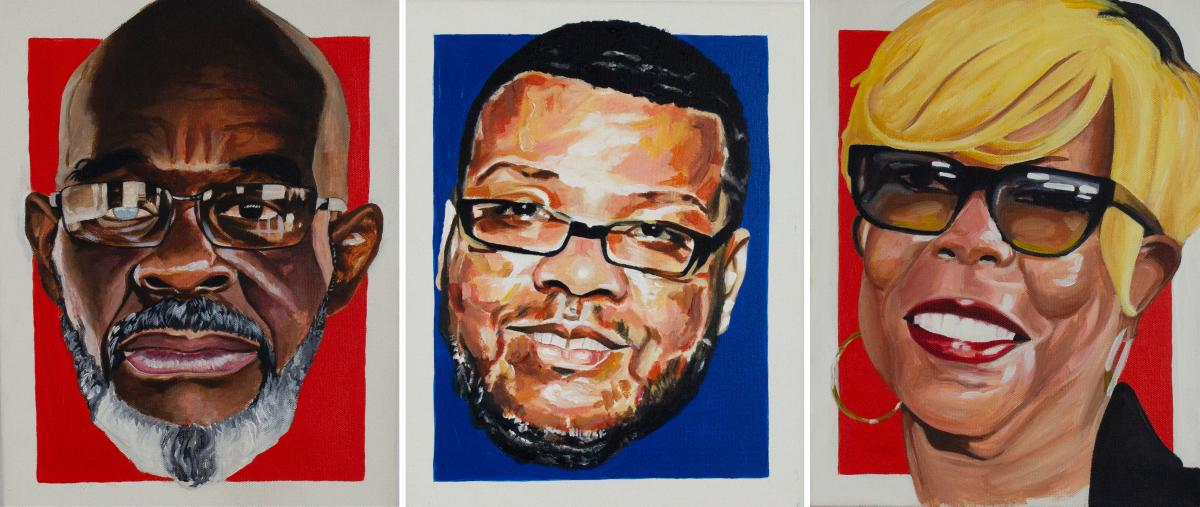 """Portraits of Points of Connection created by James """"Yaya"""" Hough, from left, formerly incarcerated returning citizens Michael """"Smokey"""" Wilson and John Pace and victim advocate Dorothy Johnson-Speight."""