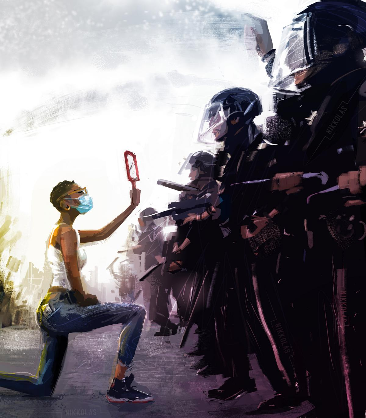 Artist Nikkolas Smith found inspiration for this painting in Dai Sugano's photograph of a protester kneeling before police. Smith posts his digital paintings — many with social justice themes — to social media in the hope that his art will inspire cha
