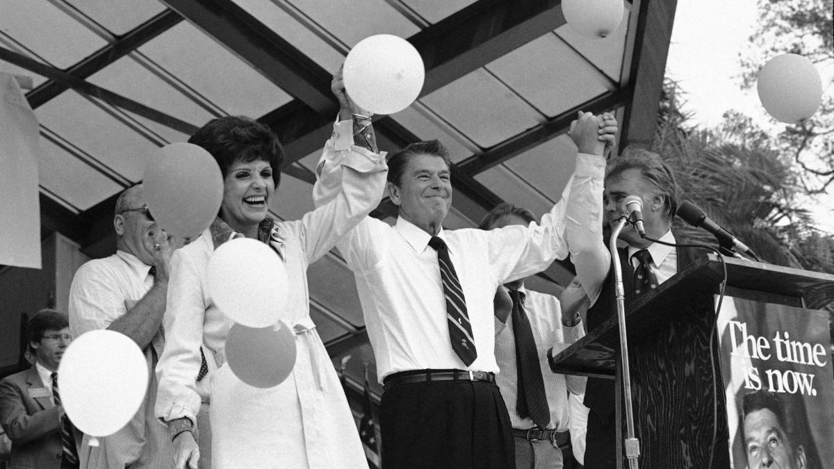 Ronald Reagan on the 1980 campaign trail with Paula Hawkins, then a Republican U.S. Senate candidate from Florida.