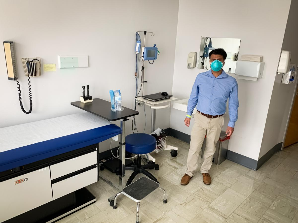 Dr. Rajbir Singh in one of the patient rooms at Meharry Medical College where volunteers will start receiving the Novavax coronavirus vaccine in October, as part of a phase three trial. Meharry, which is a historically Black medical school, wants to enrol