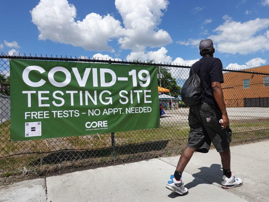 A sign alerts residents to a mobile COVID-19 testing site in Chicago, Illinois. Policy makers continue to urge greatly expanding coronavirus testing as a means of detecting and containing emerging outbreaks.