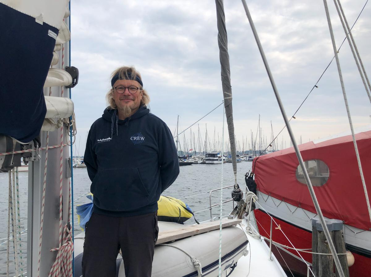 Steffen Meisner is pictured atop his sailboat in his hometown of Stralsund, home to Angela Merkel's constituency as member of parliament. Meisner says he's never voted for Merkel's party, but that he has always supported Merkel as Germany's chancellor.