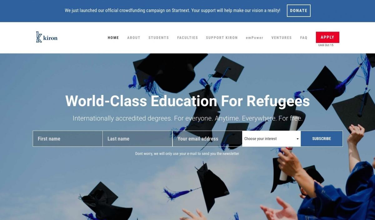 Kiron University, geared to refugees and displaced people, offers two years of online study toward a bachelor's degree. Students complete the degree at partner universities.