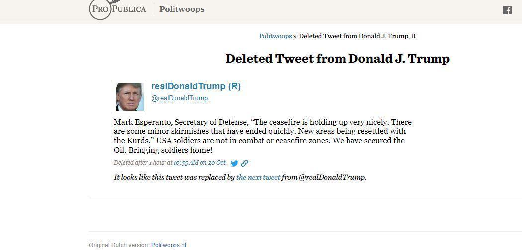 Screengrab of deleted Trump tweet from Oct. 20.