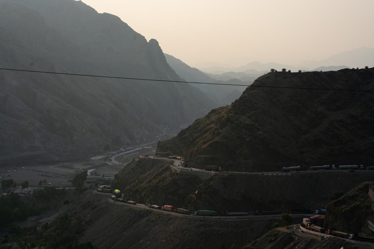 Trucks line the road as their drivers wait to get through the border to Afghanistan.