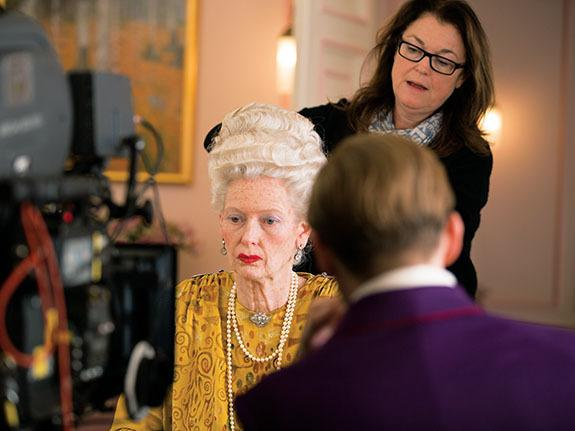 Oscar-nominated hair and makeup designer Frances Hannon styles actress Tilda Swinton on the set of The Grand Budapest Hotel.
