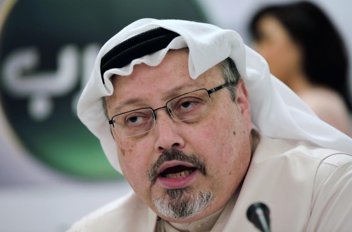 In 2014 file photo, Saudi journalist Jamal Khashoggi speaks during a press conference in Bahrain. Khashoggi was killed at the Saudi consulate in Istanbul, Turkey, in 2018.