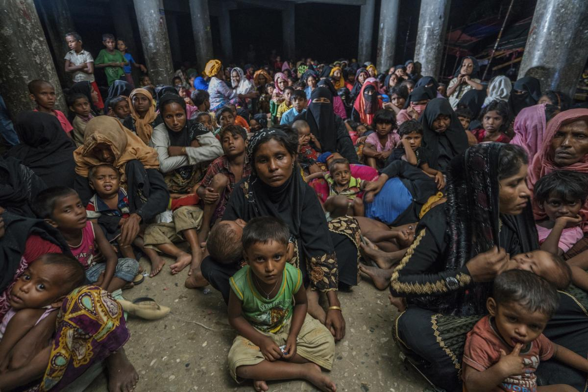 Shahidul Alam took this photo of Rohingya refugees in a Bangladeshi cyclone shelter in November of last year.