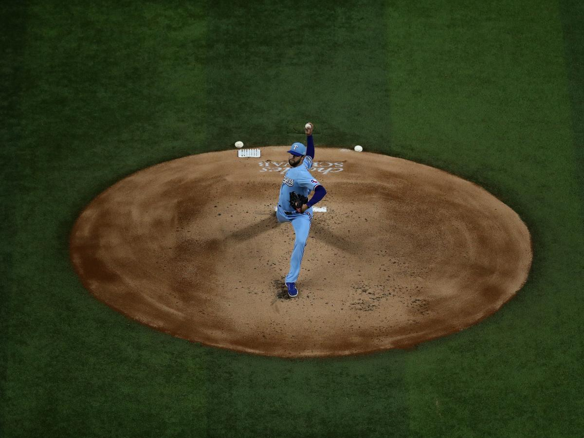 Jordan Lyles of the Texas Rangers throws against the Houston Astros in the final game of the regular season on Sunday.