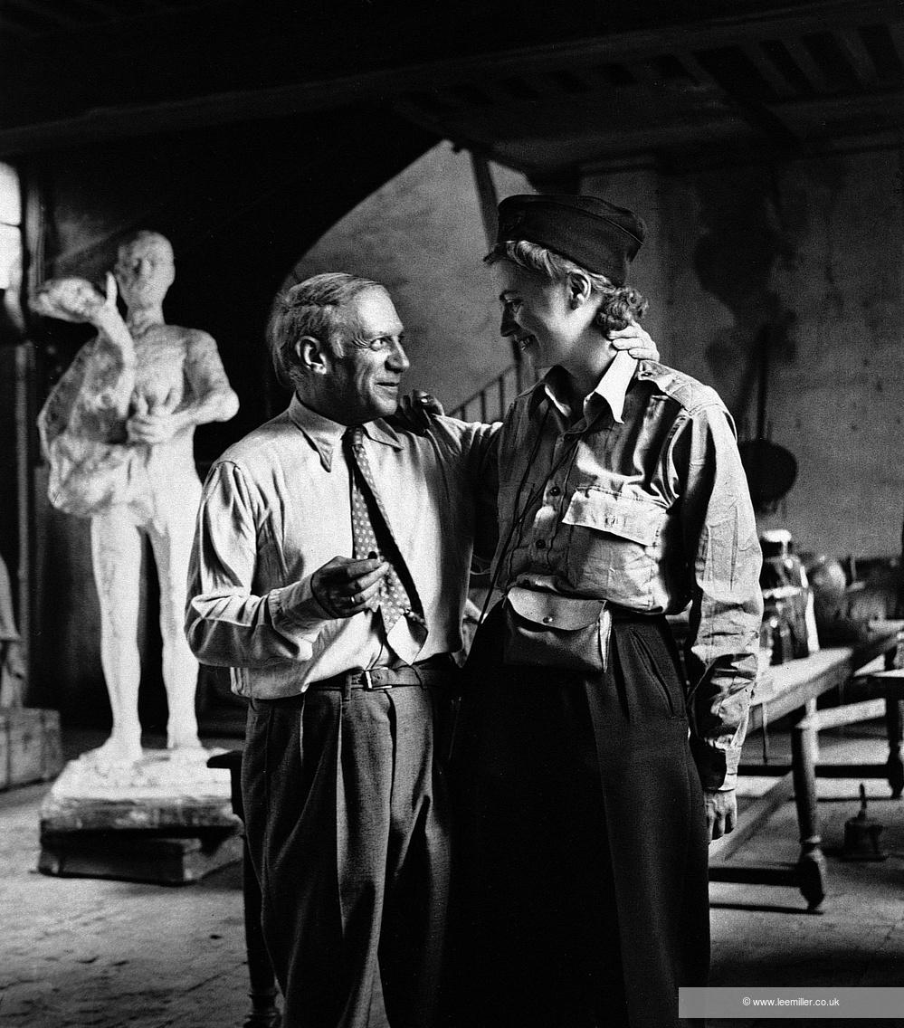 Picasso and Lee Miller in his studio, Liberation of Paris, Rue des Grands-Augustins, Paris, France, 1944 by Lee Miller