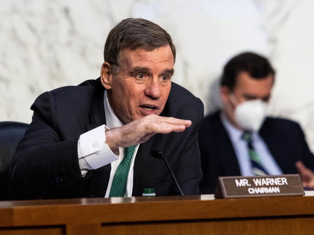 Sen. Mark Warner, a Democrat from Virginia and chairman of the Senate Intelligence Committee, speaks during a hearing in Washington, D.C., on April 14.