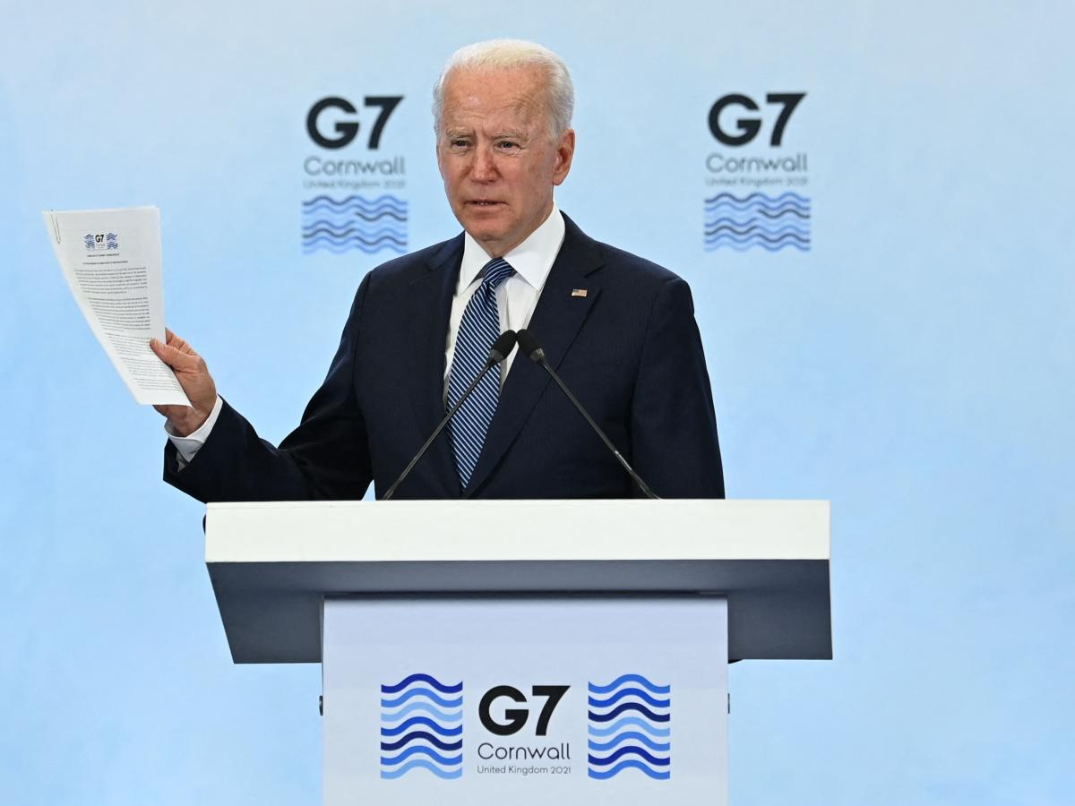 President Biden talks to reporters after the G-7 summit in Cornwall. Leaders took a notably strong stance on China in their final agreement.