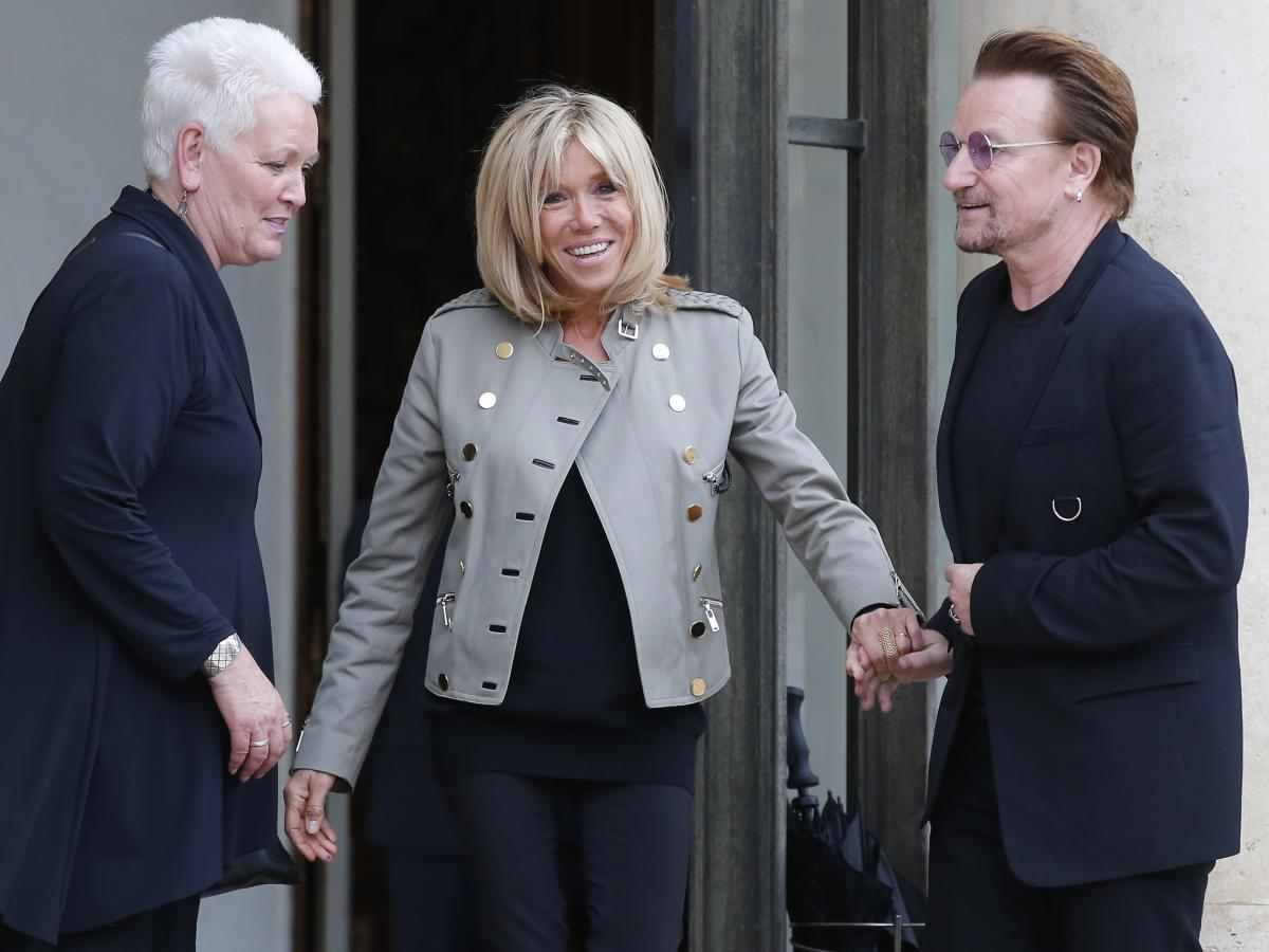 Gayle Smith in 2017, meeting with Brigitte Macron at the Elysee Palace, in Paris and U2 singer Bono, founder of advocacy group the ONE Campaign.