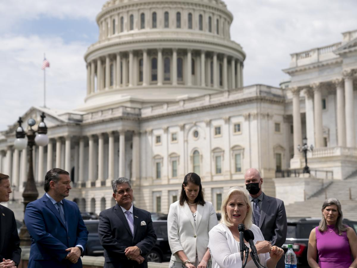 Sen. Kirsten Gillibrand, D-N.Y., says there are now enough votes in the Senate to pass legislation to move cases of sexual assault in the military out of the chain of command. Above, Gillibrand talks about the bill outside the U.S. Capitol last week.