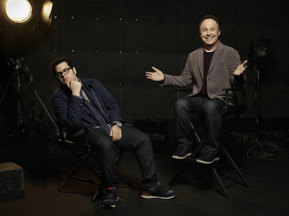 "Josh Gad (left) and Billy Crystal co-star in The Comedians on FX. While on the show they pretend there's a big generational gap, Gad says, ""I happen to have a lot more in common with Billy than not — so it was almost more difficult to create this sort o"