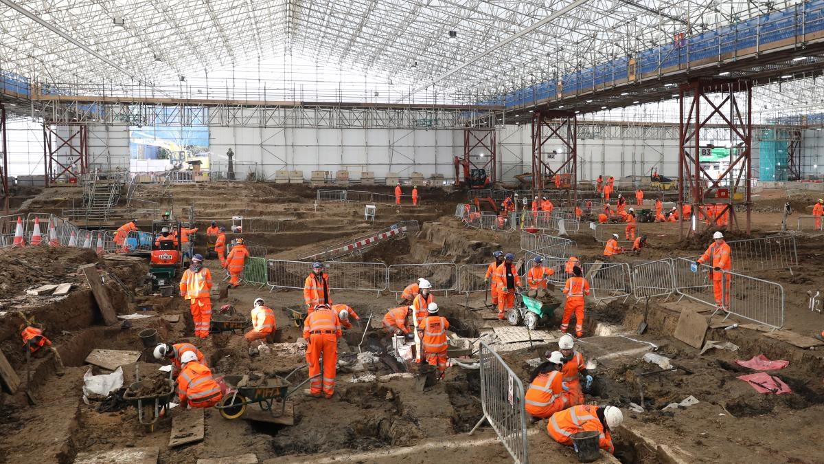 The archaeological excavation site where Capt. Matthew Flinders' remains were discovered last week.