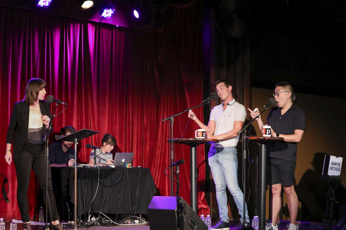 Ophira Eisenberg chats with Matt Rogers and Bowen Yang appear on Ask Me Another at the Bell House in Brooklyn, New York.