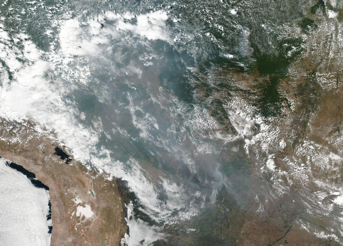 This satellite image provided by NASA shows the fires in Brazil on Aug. 20.