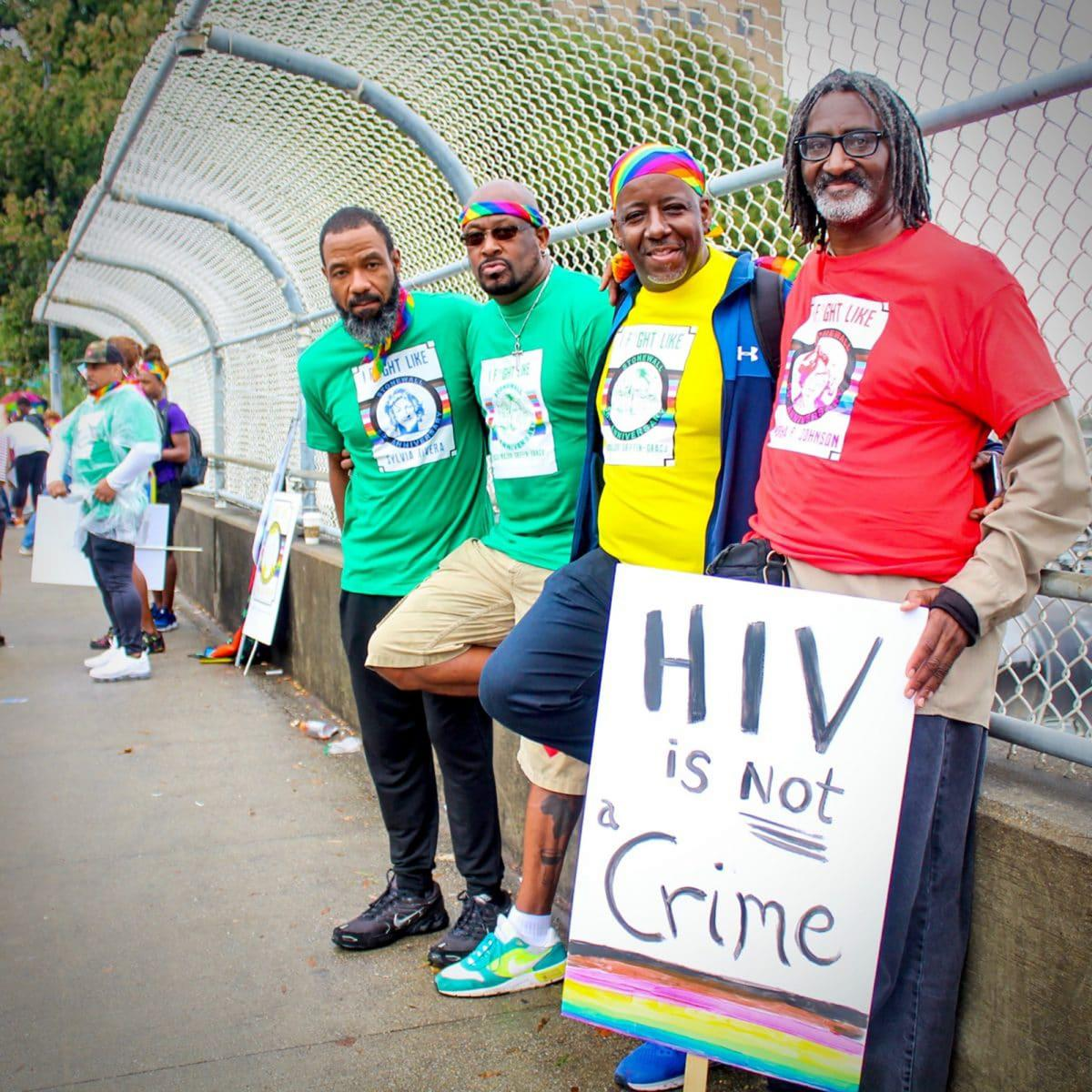 Ant Wilson, Thaddeus Works, DC Branch, and Renard Prather, all members of Thrive SS, at this year's pride parade in Atlanta.
