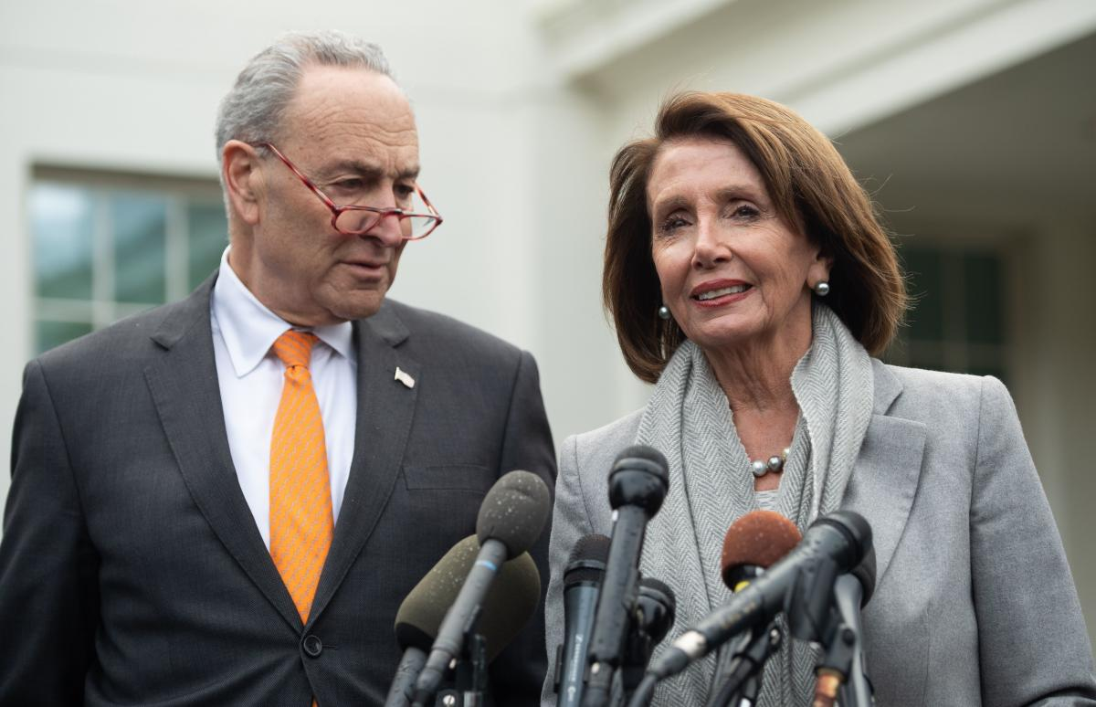 Senate Minority Leader Chuck Schumer and House Speaker Nancy Pelosi speak to the media following a meeting with President Trump about the partial government shutdown at the White House on Wednesday.