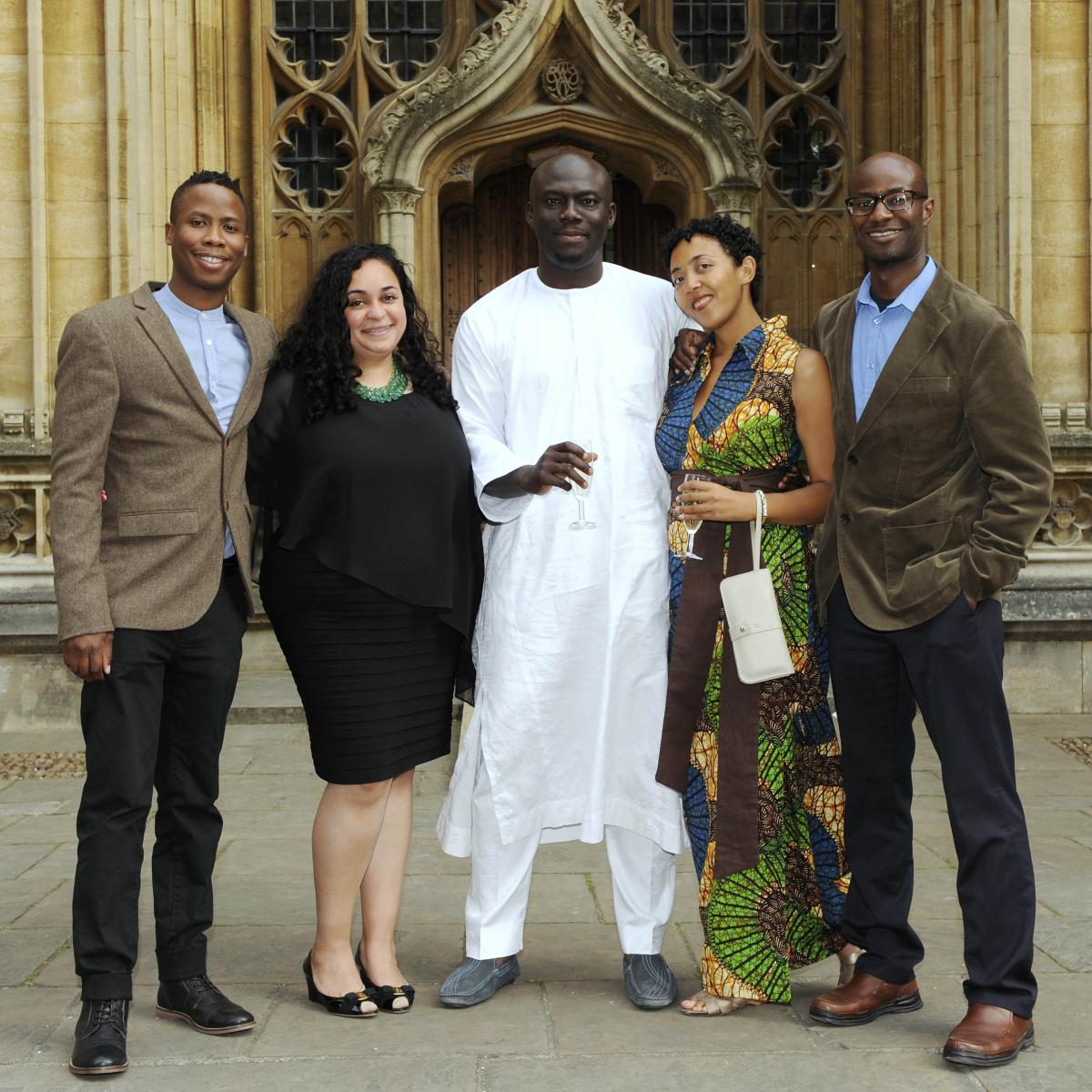 Serpell stands beside her fellow shortlisted writers: (left to right) Masande Ntshanga, F.T. Kola, Elnathan John and Segun Afolabi.