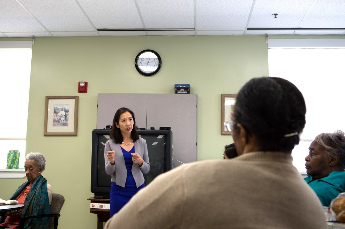 Wen speaks during an ice cream social at the Sandtown Winchester Senior Center in Baltimore on Tuesday.