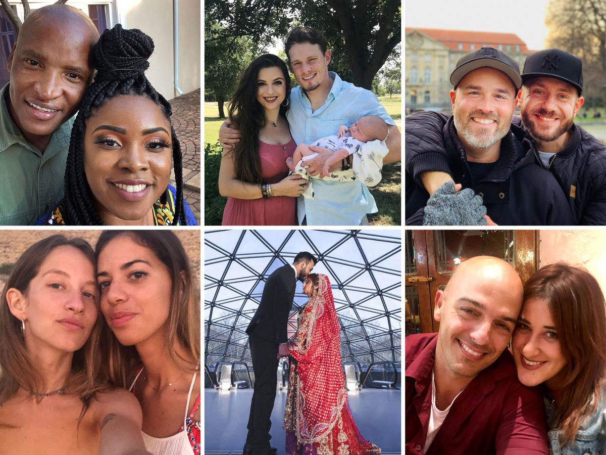 Thousands of couples have been separated by pandemic-related travel restrictions. Some have managed to reunite, but many are still trying to find a way. (Clockwise from top left: Johannes Mahele and Joresa Blount, Corsi Crumple and Sean Donovan, Todd Alsu