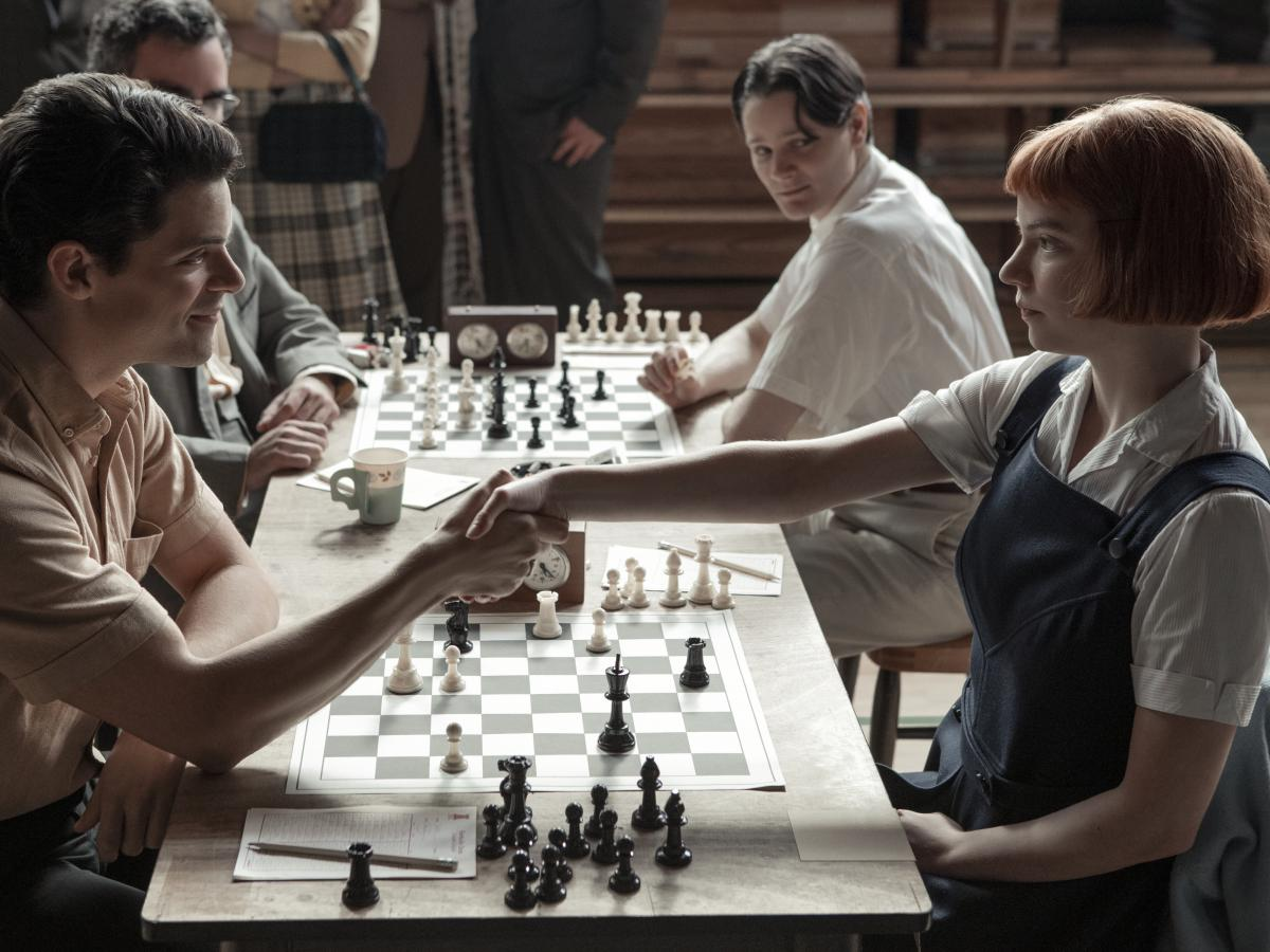 Beth (Anya Taylor-Joy) destroys an opponent (Jacob Fortune-Lloyd) in the Netflix chess drama, The Queen's Gambit.
