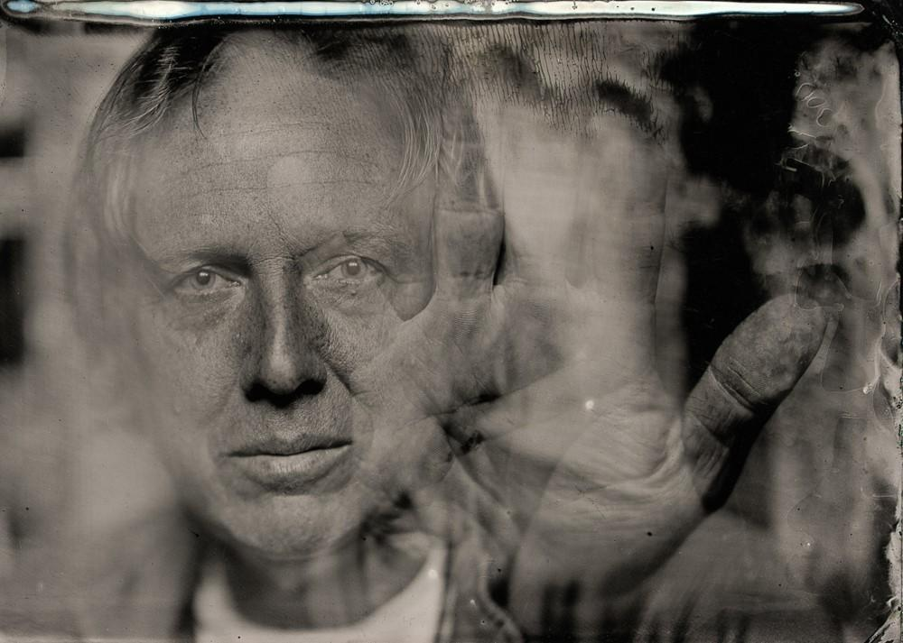 Tim Duffy took this self-portrait using his tintype photography setup.