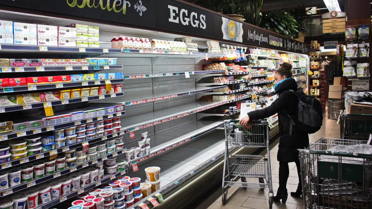 Empty shelves where eggs should be at a Whole Foods Market in Washington, D.C. The store blames increased demand for organic eggs.