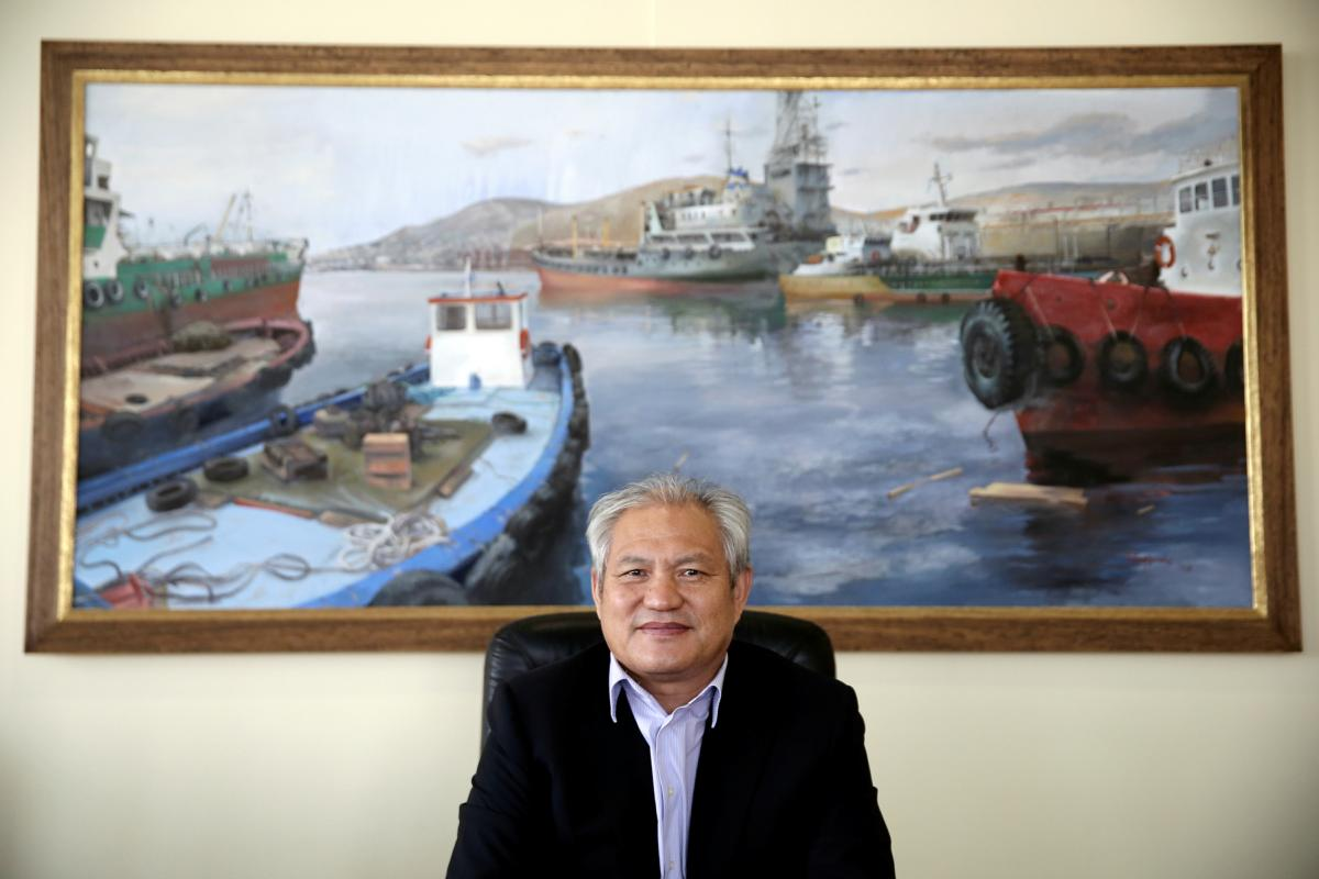 COSCO's chief executive in Piraeus, Capt. Fu Cheng Qui, says he wants to make the port the largest in the Mediterranean.