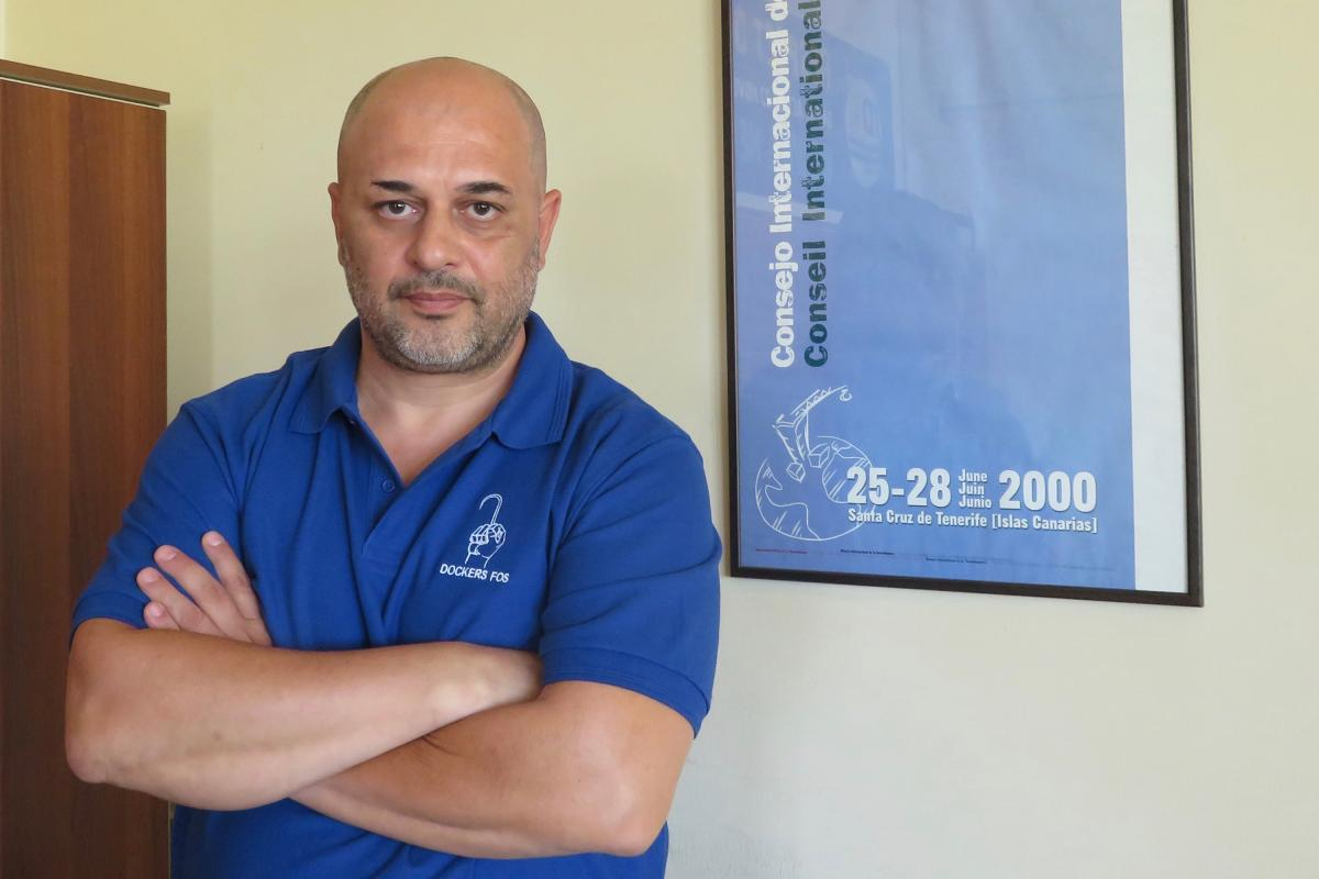 """Giorgos Gogos, the general secretary of the Piraeus port workers' union, calls the treatment of employees there """"exploitation."""""""