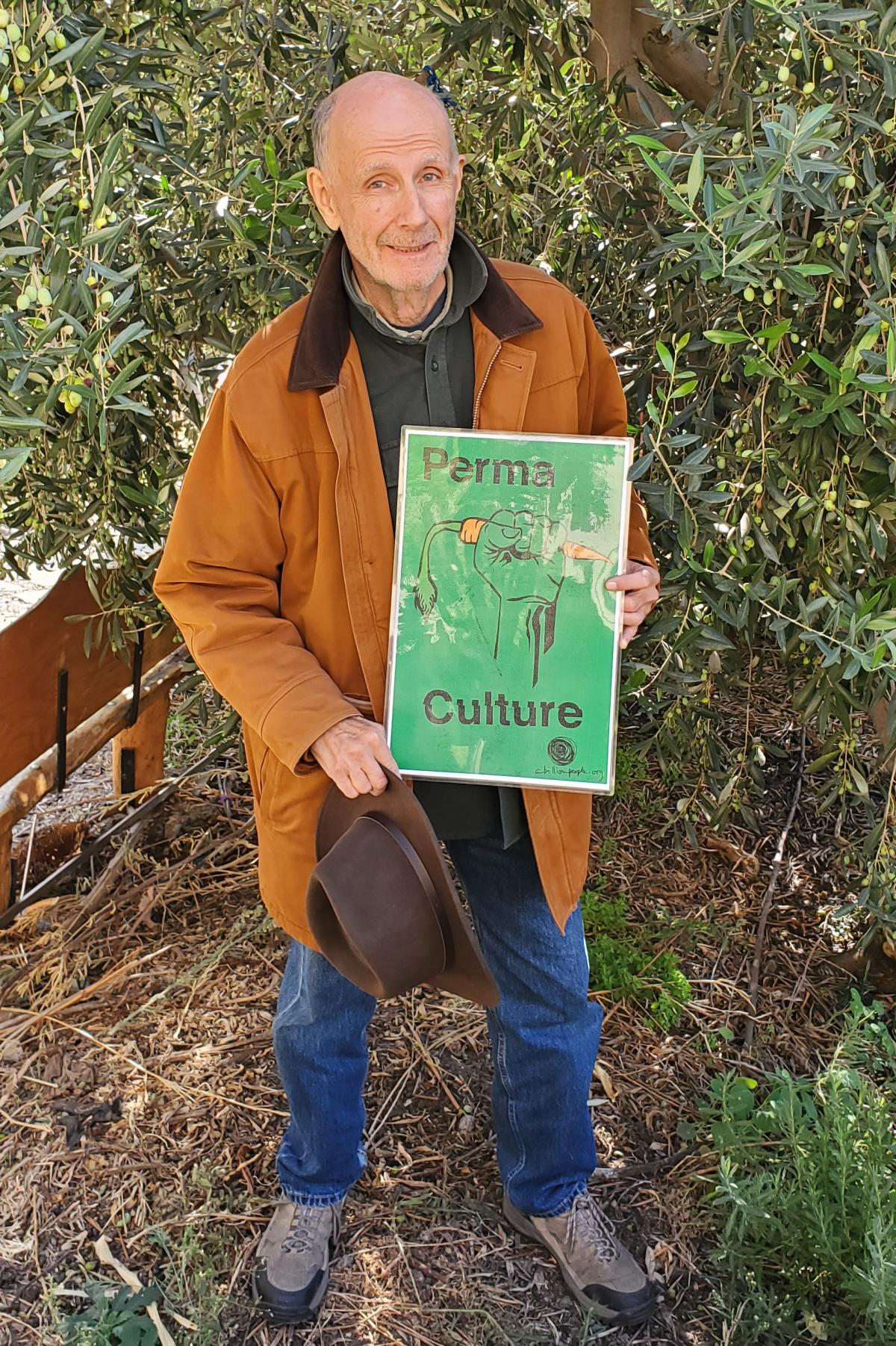 Thom Hawkins chooses not to fly to reduce his carbon footprint. He also tends an organic garden at a local church.