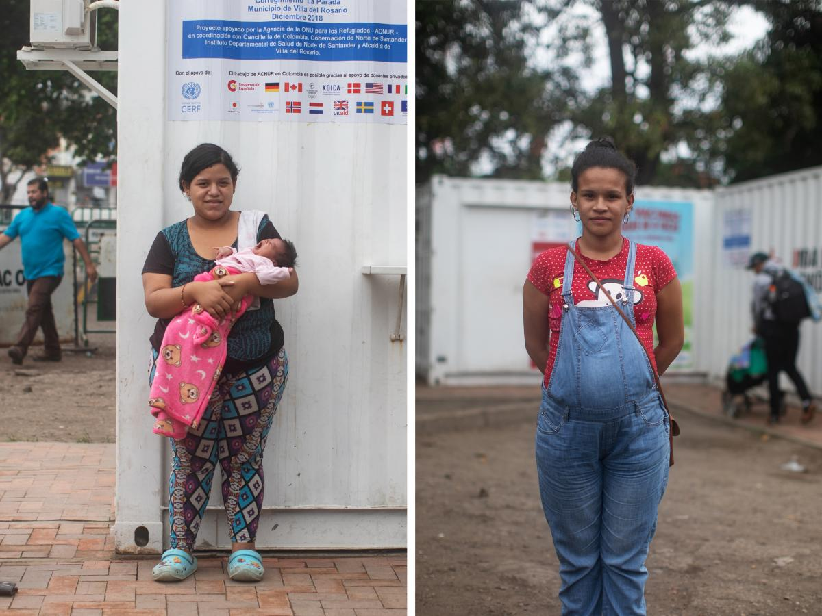 Left: Yuletsy Martinez, 19, is holding her 17-day-old daughter. She has a 1-year-old as well. Martinez has been living with her husband in a motel in Colombia for two months. Right: Stefanie Niño, 26, is seven months pregnant and has a second child who i