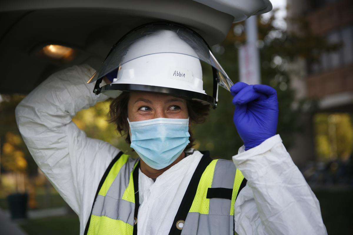 """CSU graduate student Abbie Modafferi works as a wastewater technician for the school's coronavirus testing program. """"I feel like if we're really trying to slow the pandemic and help get back to normal, the biggest thing is prevention,"""" she says. """"And this"""