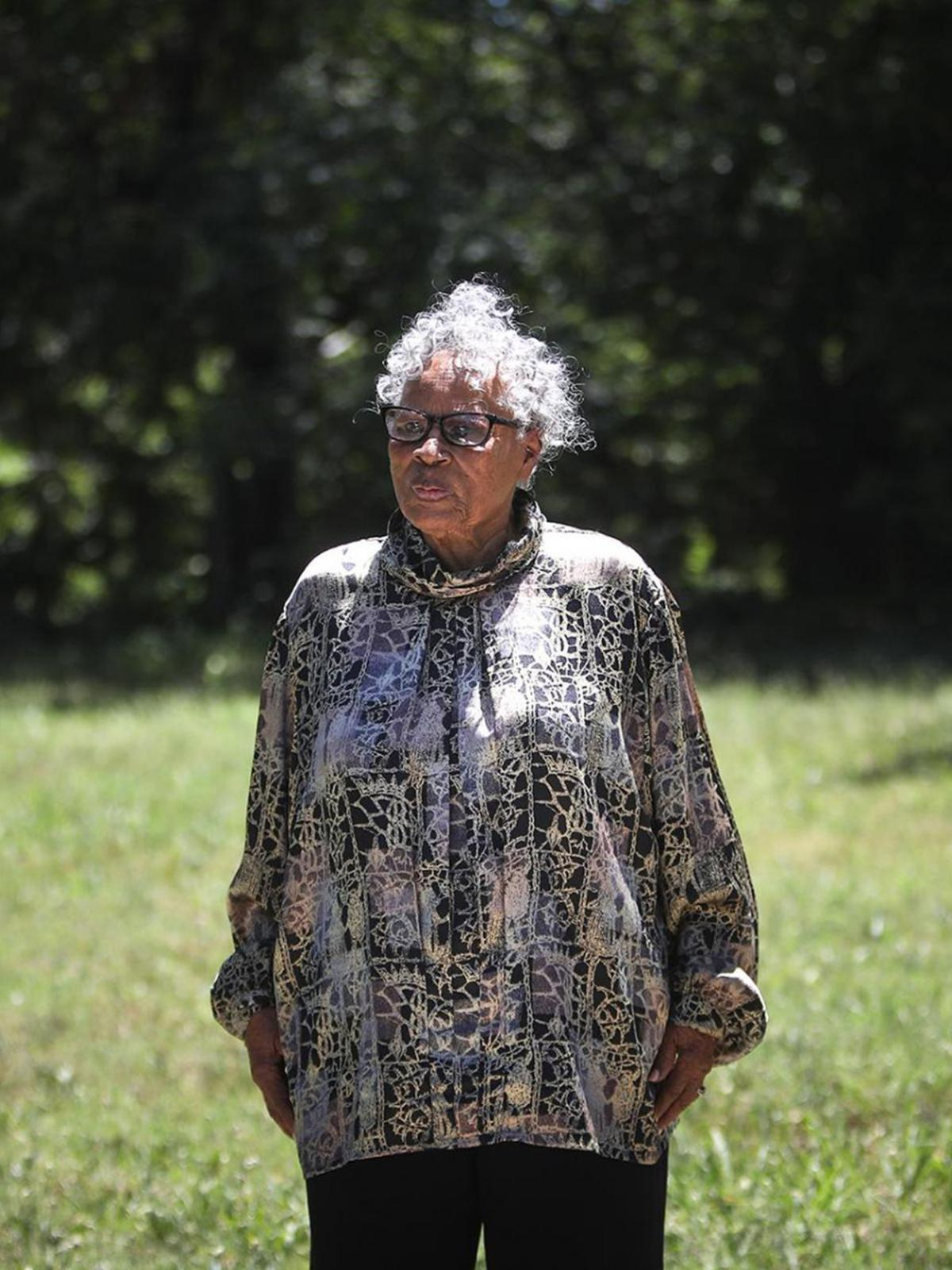 Opal Lee stands in front of the East Annie Street lot on June 2, 2021, where white rioters attacked, invaded and burned her family's home in Fort Worth, Texas in 1939. (Amanda McCoy/Fort Worth Star-Telegram/Tribune News Service via Getty Images)