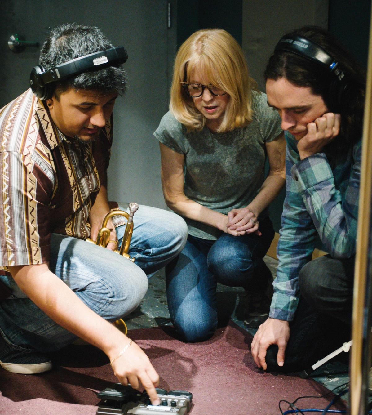 From left: Mike Rodriguez, Maria Schneider and Michael Lenssen in the studio during the making of Data Lords.